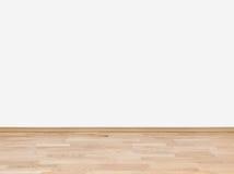 Lege witte muur met houten vloer Stock Foto's