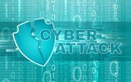 De achtergrond van de Cyberaanval met gebroken schild stock illustratie