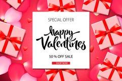 De achtergrond van de de Dagverkoop van Valentine ` s De hoogste mening over samenstelling met giftdoos en nam bloemblaadjes, vec royalty-vrije stock afbeelding
