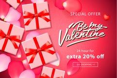 De achtergrond van de de Dagverkoop van Valentine ` s De hoogste mening over samenstelling met giftdoos en nam bloemblaadjes, vec stock illustratie