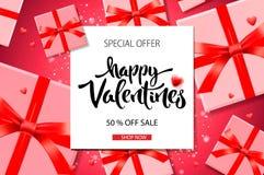De achtergrond van de de Dagverkoop van Valentine ` s Hoogste mening over samenstelling met giftdoos, vectorillustratie royalty-vrije stock foto's