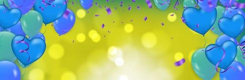 De achtergrond van de de Dagverkoop van vieringsvalentine Romantische samenstelling met harten Blauwe ballons Vectorillustratie v vector illustratie