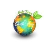 De achtergrond van de aardedag met de woorden, de planeet en de groene bladeren De vectorillustratie van het driehoeksontwerp Stock Foto