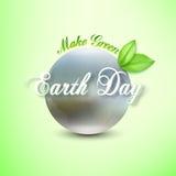 De achtergrond van de aardedag met de woorden, de vage planeet en de groene bladeren Vector illustratie Royalty-vrije Stock Foto's