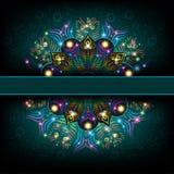 De achtergrond van de Abstarctluxe met het glanzende patroon van de pauwveer Royalty-vrije Stock Fotografie