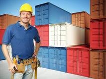 De achtergrond van de arbeider en van de container Royalty-vrije Stock Afbeeldingen