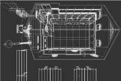 De achtergrond van de architectuurtekening, architecturaal plan, bouwtekening, vloerplan Royalty-vrije Stock Foto's