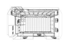 De achtergrond van de architectuurtekening, architecturaal plan, bouwtekening, vloerplan Stock Afbeeldingen