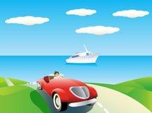 De achtergrond van de auto en van het jacht. Stock Foto
