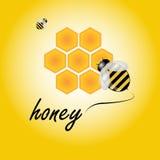De achtergrond van de bij en van de honing Stock Afbeelding