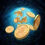 De ACHTERGROND van de Bitcoin BINAIRE CODE Stock Foto