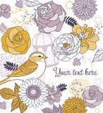 De achtergrond van de bloem & van de vogel royalty-vrije illustratie