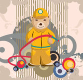 De Achtergrond van de Brandweerman van de teddybeer Stock Foto