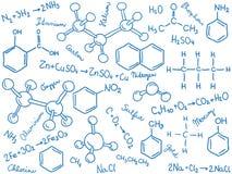 De achtergrond van de chemie - molecules en formules Royalty-vrije Stock Foto