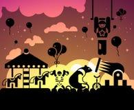 De achtergrond van de circusnacht Stock Foto