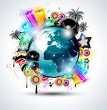De achtergrond van de Club van de muziek voor internationa van de discodans Stock Afbeeldingen