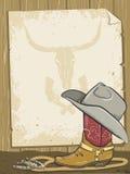 De achtergrond van de cowboy met laars en document voor tekst royalty-vrije illustratie