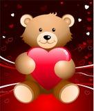 De achtergrond van de Dag van de romantische Valentijnskaart van de teddybeer Stock Fotografie