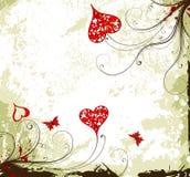 De achtergrond van de Dag van valentijnskaarten grunge met harten en F Stock Foto