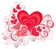 De achtergrond van de Dag van valentijnskaarten met Harten Stock Foto's