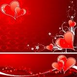 De achtergrond van de Dag van valentijnskaarten met harten en florals Stock Afbeelding