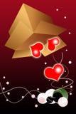 De Achtergrond van de Dag van valentijnskaarten met het Bewegen van Doos Stock Foto