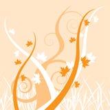 De achtergrond van de daling met oranje spiralen en eiken bladeren Royalty-vrije Stock Fotografie