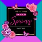 De achtergrond van de de lenteverkoop met mooie kleurrijke bloem Vector IL Royalty-vrije Stock Afbeeldingen