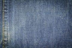 De achtergrond van de de stoffentextuur van denimjeans met naad voor ontwerp Royalty-vrije Stock Foto