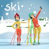 De achtergrond van de de winterkaart Het spoor van de skilooppas, jonge gefotografeerde vrouw Royalty-vrije Stock Foto's