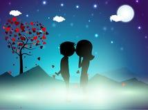 De achtergrond van de de winternacht van de Dag van valentijnskaarten Royalty-vrije Stock Afbeelding