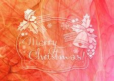 De achtergrond van de de wintervakantie met Vrolijke Kerstmis van de groettekst `! ` Stock Fotografie