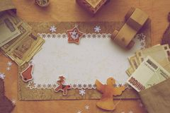 De achtergrond van de de wintervakantie in uitstekende stijl Royalty-vrije Stock Afbeeldingen