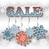 De achtergrond van de de winterverkoop met heldere sneeuwvlokken Royalty-vrije Stock Fotografie