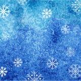 De achtergrond van de de winterwaterverf met sneeuwvlokken Vector abstract malplaatje Royalty-vrije Stock Foto's