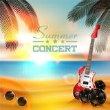 De achtergrond van de de zomermuziek met instrumenten Stock Fotografie