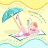 De achtergrond van de de zomertijd met meisje op strand Stock Afbeeldingen