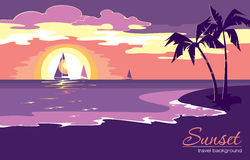 De achtergrond van de de zomervakantie met zonsondergang in vlakke ontwerpstijl Vector Illustratie