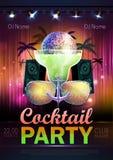 De achtergrond van de discobal De affiche van de discococktail party Stock Fotografie
