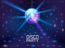 De achtergrond van de discopartij Adverteert het vectorontwerp van de muziekdans voor De vlieger van de discobal of promo van het Stock Foto's