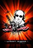 De Achtergrond van de Gebeurtenis van de muziek met de Vorm van DJ Stock Afbeelding