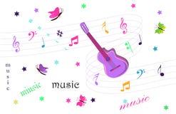 De achtergrond van de gitaarmuziek Stock Foto