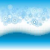 De achtergrond van de golf met gestippelde effect en cirkels. Royalty-vrije Stock Fotografie