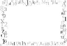 De Achtergrond van de Grens van letters en van Getallen Royalty-vrije Stock Fotografie