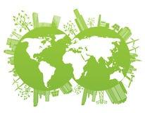 De achtergrond van de groene en milieuplaneet Stock Afbeelding