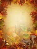 De achtergrond van de herfst met een eekhoorn Stock Fotografie