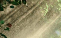 De achtergrond van de het waternevel van de zondouche Stock Afbeeldingen