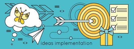 De Achtergrond van de ideeënimplementatie in Vlakte Stock Afbeelding