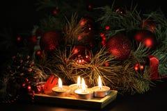 De Achtergrond van de Kaarsen van Kerstmis Stock Afbeeldingen