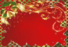 De Achtergrond van de Kaart van de Groet van Kerstmis met Klokken Stock Afbeelding